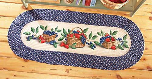 Collections Etc Kitchen Fruit Basket Braided Rug Runner