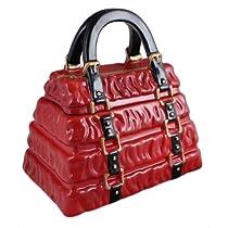Red Pleated Handbag Cookie Jar