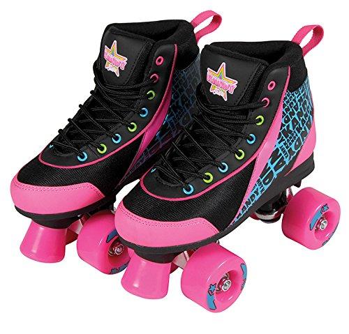 Kandy Skates Disco Diva Black and Pink Roller Skates - Size 6