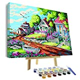 VIGEIYA DIY Paint by Numbers for Adults Include Framed Canvas and Wooden Easel with Brushes and Acrylic Pigment 15.7x19.6inch (Color: Dream villa, Tamaño: 15.7*19.6in)