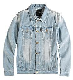 ZSHOW Men\'s Casual Denim Jacket Slim Jeans Jacket(Light Blue,US L)