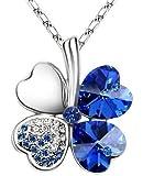 Exquisite Kristall Four Leaf Clover Flower Herz-Anhänger Silber Halskette Kette mit österreichischen Kristallen Sapphire Blau
