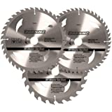 Silverline 749249 TCT Circular Saw Blades 24, 40, 48T 3-Pack 200 x 30 - 25, 18, 16mm rings