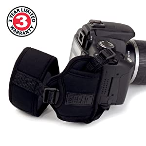 Professional Digital Film DSLR Camera Hand Grip Strap with Metal Plate by USA Gear - Works With Canon XC10 , EOS Rebel T6s , PowerShot SX410 IS & More