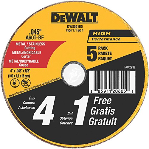 DEWALT-DW8061B5-4-Inch-by-0045-Inch-Metal-and-Stainless-Cutting-Wheel-58-Inch-Arbor-5-Pack