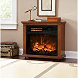 XtremepowerUS Infrared Quartz Electric Fireplace Heater Oak Finish with...