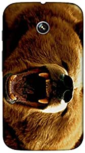 Timpax Protective Hard Back Case Cover With access to all controls and ports Printed Design : An angry bear.Compatible with Motorola Moto-E ( 1st Gen )