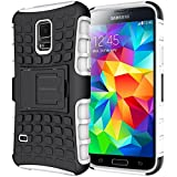 Cokaunion Double Series Shockproof and with Kickstand Case for Samsung Galaxy S5 (White)