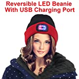 EZGO Reversible LED Knitted Beanie Hat With USB Charging Port - Perfect Hands Free Flashlight for Camping, Hunting, Grilling, Running, Walking or Handyman Working