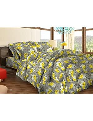 Bombay Dyeing Tuberose Cotton Double Bedsheet with 2 Pillow Covers - Yellow (05688503)