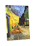 Niwo Art (TM) - Cafe Terrace at Night, by Vincent van Gogh - Oil painting Reproductions - Giclee Canvas Prints Wall Art for Home Decor, Stretched and Framed Ready to Hang (16 x 20 x 1.5 Inch)
