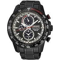Seiko SSC373 Sportura Solar Chronograph Bracelet Mens Watch (Black Dial)