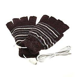 Lsgoodcare Brown USB 2.0 Stripe Pattern Fingerless Heating Knitting Wool Hands Warm Gloves Gloves