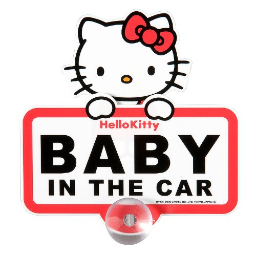 "Hello Kitty swing sign ""BABY IN THE CAR"" (japan import) - 1"