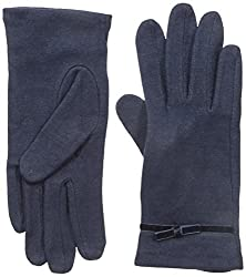 Gloves International Women's Wool Blend Gloves with Bow, Navy, Small/Medium