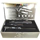 Royale Black Full Set 25-18 mm Clipless Tourmaline Curling Iron + Mini Flat Iron Travel Size + Classic Hair Straightener
