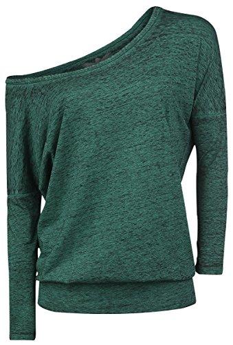 Black Premium by EMP Burnout Ladies Tee Manica lunga donna verde XXL