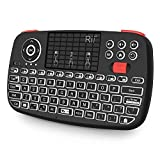 (Updated 2018,Dual Mode)Rii i4 Mini Wireless Bluetooth Keyboard with Touchpad,LED Backlit,Rechargeable Battery for iOS Windows Android Tablets,IPTV,HTPC,Fire TV,Raspberry Pi,Linux and Computer - Black