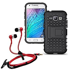 Droit Shock Proof Protective Bumper back case with Flip Kick Stand for Samsung J1 + Stylish zipper hand free for all smart phones by Droit Store.