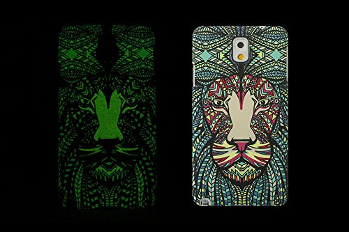 (Case for Galaxy Note3/N9000) Bon Venu Night-luminous products New Arrival Creative Luxury Life Of a King Animal Elephant Tiger Lion Cat Wolf Hard Case for Samsung Galaxy Note3 N9000 case+Screen Protector (Pattern 6)