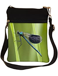 Snoogg Navy Blue Dragonfly Cross Body Tote Bag / Shoulder Sling Carry Bag