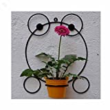 Wrought Iron Wall Bracket With Metal Bucket - Frog - Black & Yellow