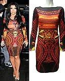 Ladies Kim Kardashian Celebrity Aztec Tribal Print Bodycon Dress