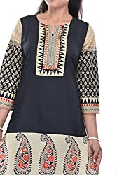 Nishiva Women's Beige Cotton Kurta NWK1009_M