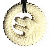 Dragon Power Good Fortune Guardian Necklace Pendant - Genuine Bovinae Family Bone Art