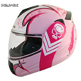 Advanced Hawk Pink Queen Dual Visor Full Face Motorcycle Helmet - Size : Large