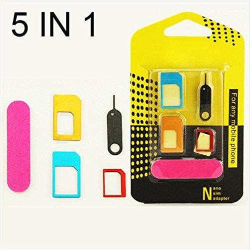 NdB 982 - Kit 5 in 1 - 3 Adattatore SIM Nano Micro Standard (Normale) + Estrattore in Metallo (ideale per APPLE) + Limetta riduzione e smussamento SIM