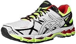 ASICS Men\'s Gel kayano 21 Running Shoe,White/Lightning/Flash Yellow,8 M US