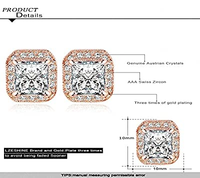 AnazoZ Jewelry 18K Gold Plated Square Stud Earring Rose Gold Plate/Platinum Plated SWA Elements Austrian Crystals Earrings