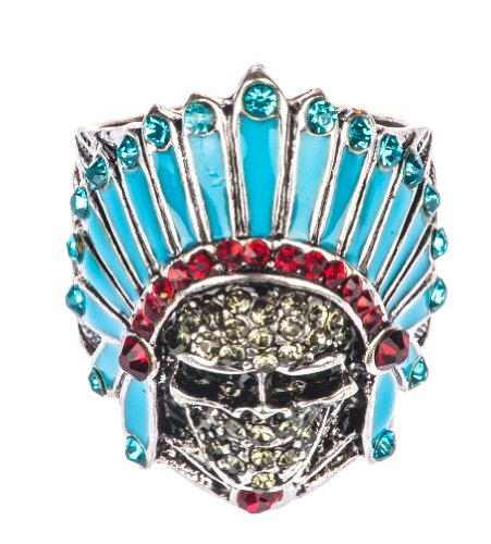 Bejewelled Skull With Native American Headdress Ring By Shagwear