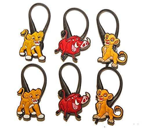 6 pcs Lion King # 3 Soft Zipper Pull Charms for Backpack Bag Pendant Jacket