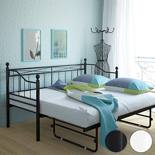 Miadomodo letto singolo per soggiorno divano letto metallo con estraibile rete a doghe a - Soggiorno con letto a scomparsa ...