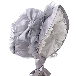 Hanakimi® Lace Royal Sun Hat Handmade Gray (Newborn - 3 Years) (S/6M)