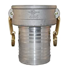"PT Coupling Basic Standard Series Aluminum Cam and Groove Hose Fitting, C-Coupler, Brass (HB) Cam Arms, 4"" Coupler x Hose Shank"