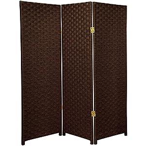 Oriental Furniture Best Small Size 3 Panel Room Divider, 4-Feet Rattan Like Woven Plant Fiber Folding Privacy Screen, Dark Mocha from Oriental Furniture