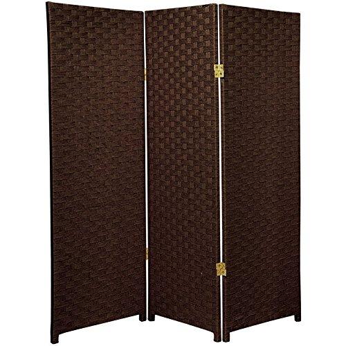 Oriental furniture 4 ft tall woven fiber room divider dark mocha 3 panel dividers - Opaque room divider ...