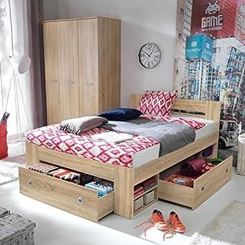 Nepo lit 140x200 cm avec rangement - décor chene sonoma mat