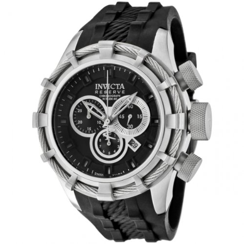 Invicta Reserve Men's Quartz Watch with Black Dial Chronograph Display and Black Rubber Strap 1222