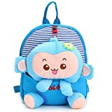 1024906 Cartoon Baby Girls Boys Soft Plush Preschool Backpack Kids Cute Monkey Tiger Design Shoulder Bags Outdoor Travel Food Bag Children School Book Bag Kid Gift Blue Monkey