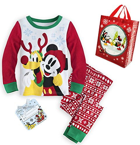 Mickey Mouse Holiday PJ PALS Pajamas for Boys and Reusable Gift Tote - Size 3 XXS