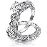 Valentine Gifts 925 Sterling Silver Vintage Style CZ Round Teardrop Wedding Engagement Ring Set