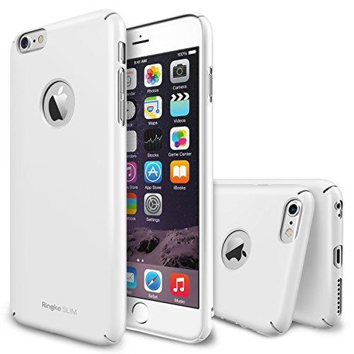 """Custodia iPhone 6 Plus 5.5"""", Ringke SLIM [Gratuito HD Pellicola Protezione] [Logo Cutout WHITE] Super sottile Doppio Rivestito Perfetta Vestibilità Premio Difficile Custodia per Apple iPhone 6 Plus 2014 (Non per iPhone 6S Plus 2015)"""