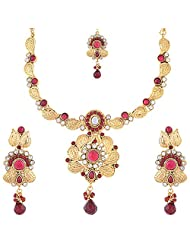 1 Gram Gold Plated Traditional Necklace Set With Kundan Work And Pink Stones With Mangtika - B00RMPKZYC