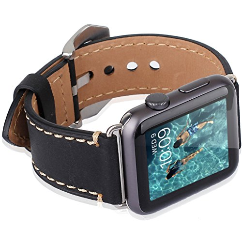 Apple Watch Band, 42mm iWatch Band Strap Premium Vintage Genuine Leather Replacement Watchband with Secure Metal Clasp Buckle for Apple Watch Sport Edition 2