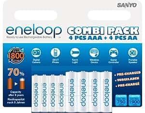 SANYO eneloop AA/AAA ReadytoUse Mignon+Micro NI-MH Akku Akku HR-3UTGB-4UTGB-8BP (1900/750 mAh, 8er Combi-Pack)