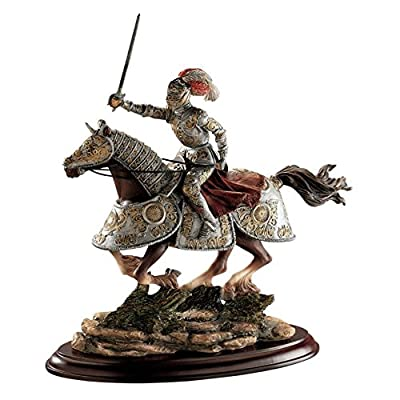 Design Toscano 10 in. Medieval Charging Knight & Horse Sculpture